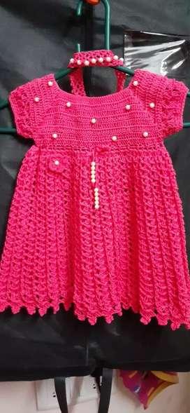 New handmade crochet baby frock