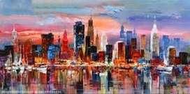 lukisan kanvas kota modern