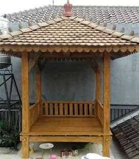 Saung Gazebo kayu jati ukuran 2x2m ready stok