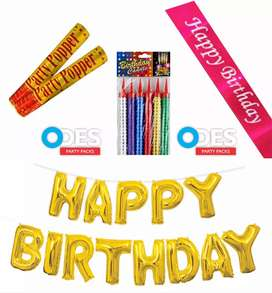 Sparkling Candles, Foil Balloons, Party Poppers, Birthday Sash