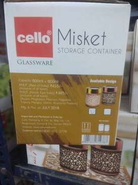 New Cello misket storage containers glassware - 2pcs UNUSED 'NEW'