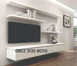 Backdrop TV Kabinet Putih Minimalis + Rell Laci Hubben Interior Design