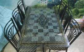 6 Iron Chairs & Dining Table