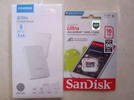 Powerbank 6600mah dan memori sandisk