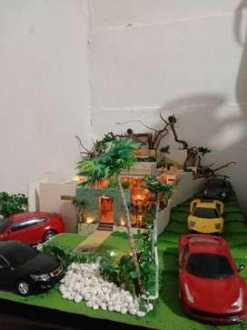 Miniatur rumah skala 1:50 include pajangan mobilnya