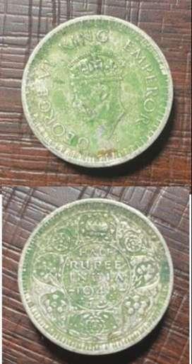 British Era Silver Coin - Half Rupee