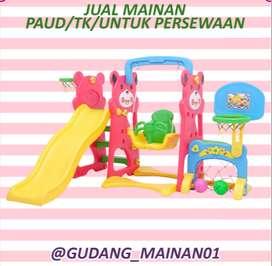 Mainan Playground Indoor Ayunan, Perosotan, Gawang dan Ring basket