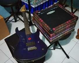 Gitar+ampli distorsi tinggal colok
