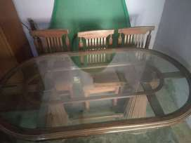 six seater dining table with wooden chairs