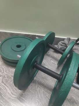 Dumbells plates and dumbell rod