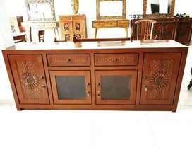 Bufet tv minimalis ukiran P.180cm, bahan kayu jati terbaik