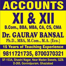 Coaching Classes OR Home tuition of Accounts for 11,12,B,com,BBA,CA/CS