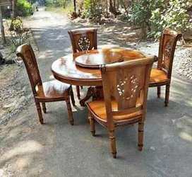 Meja makan bulat bisa putar bahan kayu jati solid