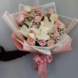 Buket Bunga pink crown
