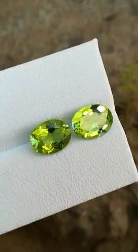 Perfect pair of natural Brazilian Peridot in 2 CT each unheated clean