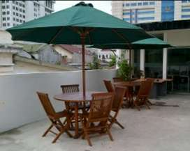 Kursi meja dan.payung cafe, vila, taman, pantai, kolam, tempat wisata