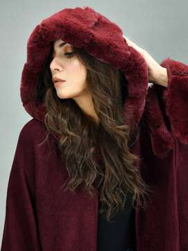 Limelight Hooded Fur Cape Shawl