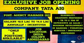Agency Manager (GI) - TATA AIG