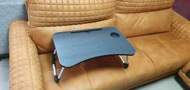 Laptop table with cup holder and tablet mobile slot