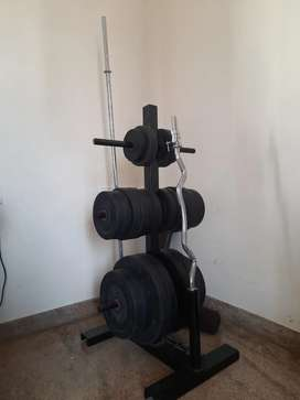 Gym weights with stand and Multi purpose bench
