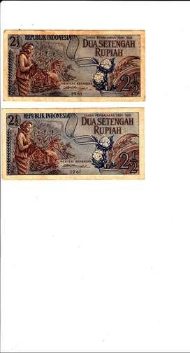 Dijual uang antik RI keluaran tahun 1961, pecahan uang 2.5 rupiah