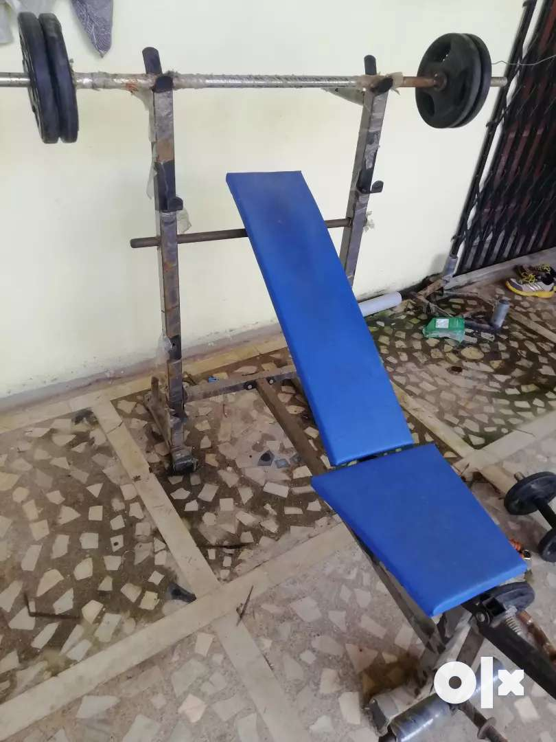 Gym bench (3 in one) weight 30 kg, 2 rods, 2 dumbells 0