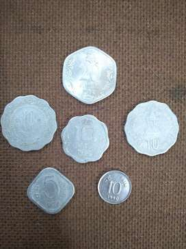 Rare old  of 5, 10, 20 paise coins in UNC condition