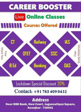 ONLINE PREPARATION FOR BANK SSC RAILWAY  IN CAREER BOOSTER KEONJHAR