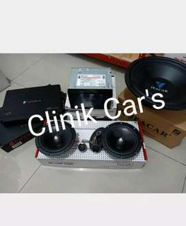 Headunit 2din Sansui+Paket Audio Mobil (Subwoofer - Power -Subwoofer)