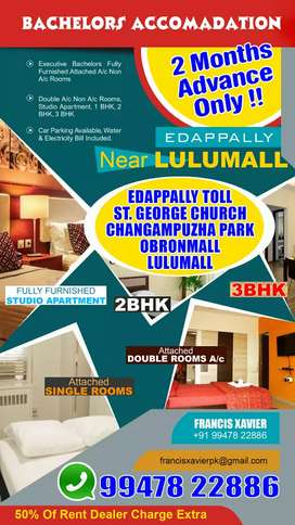 Bachelors Single Rooms & 3BHK Monthly Rent At Edappally Near Lulumall