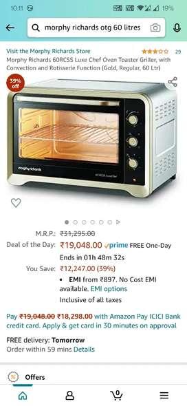 Brand new Morphy Richards 60 litre oven OTG