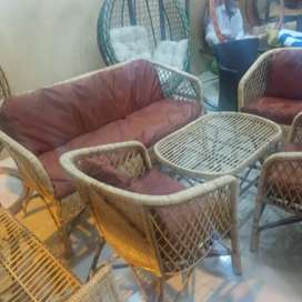 Cane and Rattan sofa set