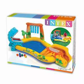 """Intex 57444 (size:8'2""""/6'3""""/3'7"""") dino play center pool with shower."""