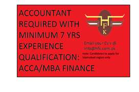 Required Accounts/Finance Manager