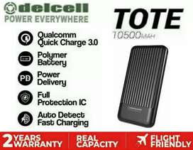 Power Bank QC 3.0 DELCELL Tote 10500 mAh PD 3A • 2 Years Warranty