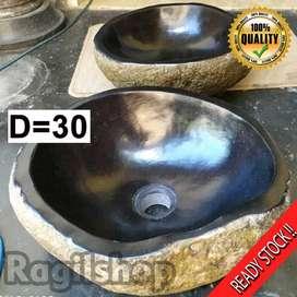 Ragilshop retail dan grosir wastafel asli batu alam kali ukuran d30