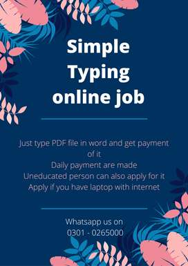 We are offering Simple Typing online job at home for youngsters