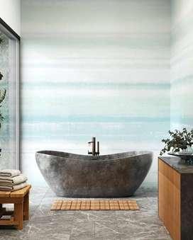 Bath Tub Marmer Terrazzo Setiabudi Free Washtafel