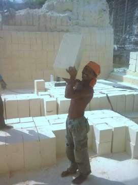 Bahan bangunan batu pondasi kumbong bataputih ringan murah paving pres
