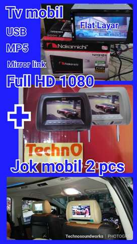 Tv mobil 7 in +  paket sandaran jok headrest 2 pcs 7 in
