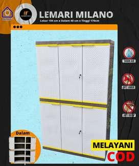 Lemari Pakaian Plastik 3 Pintu Tipe Milano