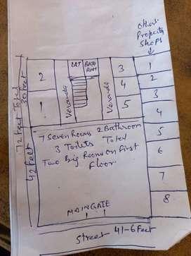 7 kamre + khali plot for sale
