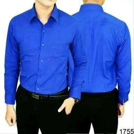 Kemeja Polos Formal Biru Pria