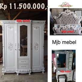 Mjb mebel - sale bedset hantaran ukir putih complete classy