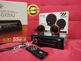 PAKET TWEETER HIFINE +SONY CDX-G1051 CD USB MP3 SINGLE DIN