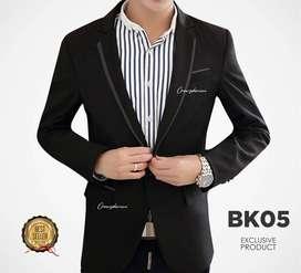 Jas Blazer Black List Satin Single Button - BK05