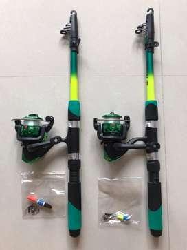 Set Joran pancing P 180cm + reel, senar, timah,kail, stoper, pelampung