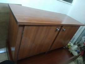 Wooden table with 2 storage cabinets
