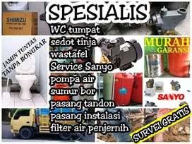 Service Sanyo pompa air pasang pipa tangki air sumur bor WC tumpat dll