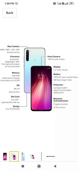 Redmi note 8 4gb+64gb all variant only at 10999